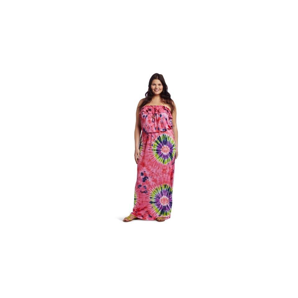 Southpole Juniors Plus Size Strapless Tye Dye Ruffle Accent Neckline Maxi Dress, Watermelon, 3X