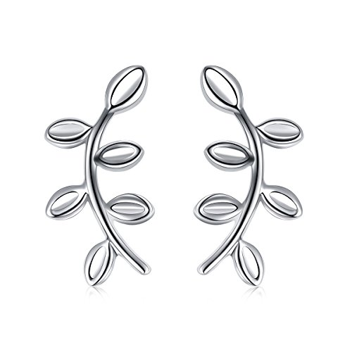ATHENAA S925 Sterling Silver Peace Symbol Olive Branch and Leaves Stud Earrings