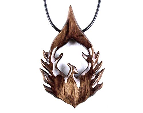 Phoenix Pendant Necklace Fantasy Bird Jewelry Hand Carved in Granadillo Exotic ()