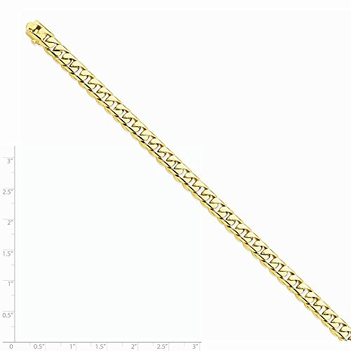 14k Yellow Gold Men's 9in 7.25mm Hand-polished Rounded Curb Chain Bracelet