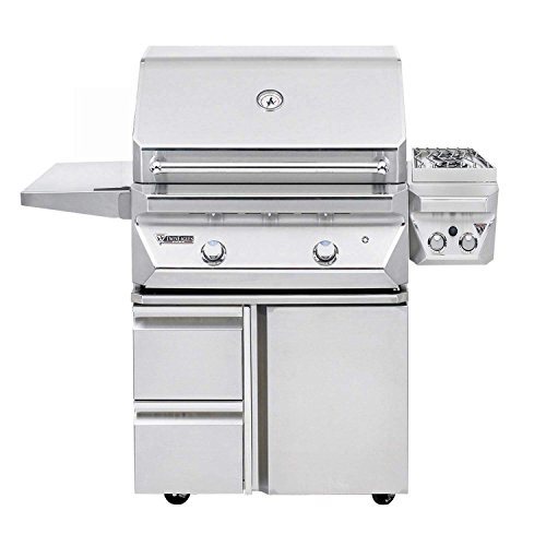 CL 30-Inch Propane Gas Grill On Door and Drawers Cart With Sear Zone And 13-Inch Double Side Burners (Electric Sealed Burners Grill)