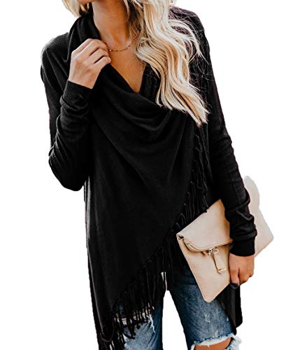 (HZSONNE Women's Speckled Fringe Cardigan Tassel Asymmetrical Hem Shawl Heap Collar Sweater Knitwear Poncho Cloak Black)