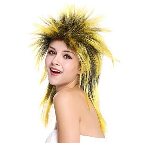 WIG ME UP ® - 90891-ZA2BTZA103 Perruque dame homme carnaval années 80 wave punk popstar mélange noir jaune crêpée