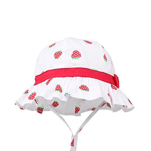 - KASULAR Baby Girls Sun Hat Summer Bucket Cap Adjustable for Growth, Stay-on, Wide Brim Toddler Beach Sun Hat 6M-4Years Old (6-12 Months, Strawberry)