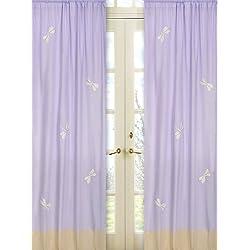 Sweet Jojo Designs 2-Piece Purple Dragonfly Dreams Window Treatment Panels