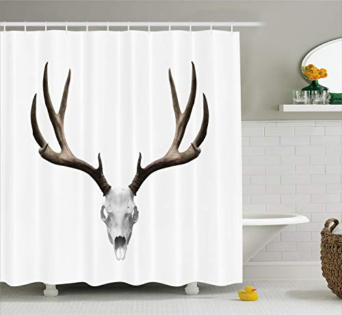 Ambesonne Antlers Shower Curtain, A Deer Skull Skeleton Head Bone Halloween Weathered Hunter Theme Motif, Cloth Fabric Bathroom Decor Set with Hooks, 75 Inches Long, Taupe Grey