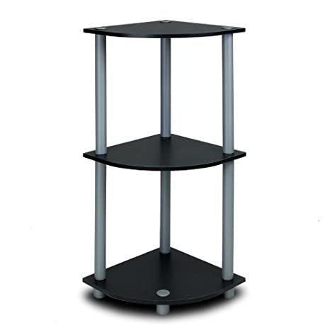Furinno 3 Tier Corner Display Rack Bookcase Shelving Unit, Black/Grey