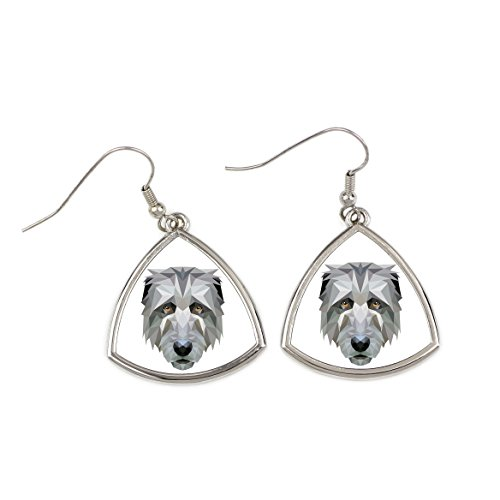 Irish Wolfhound, collection of earrings with purebred dog, geometric - Irish Wolfhound Earrings
