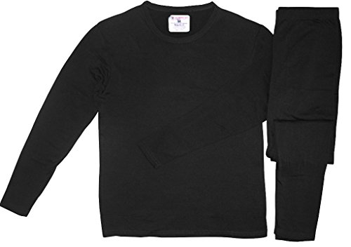 Men's Ultra-Soft Microfiber Tagless Fleece Lined Thermal Top & Bottom Performance Ski Underwear Set, Black, (Micro Fleece Thermal)