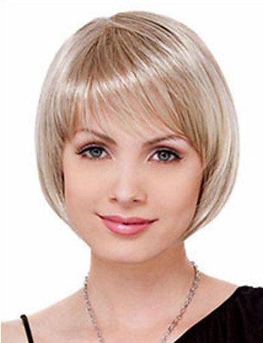 Fashion wigstyle corto pelucas de pelo blanco mujer sintético negro Europea mujeres pelucas naturales Corto Pelucas
