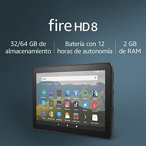 Tablet Fire HD 8, pantalla HD de 8 pulgadas, 64 GB (Negro) – Sin publicidad