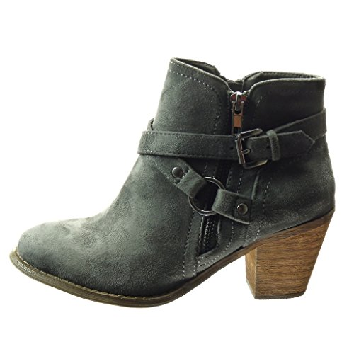 Zip Heel 5 Boots Low Women's Angkorly Block Shoes Buckle Fashion Booty 6 Thong Boots Grey cm Ankle qz6Aw7