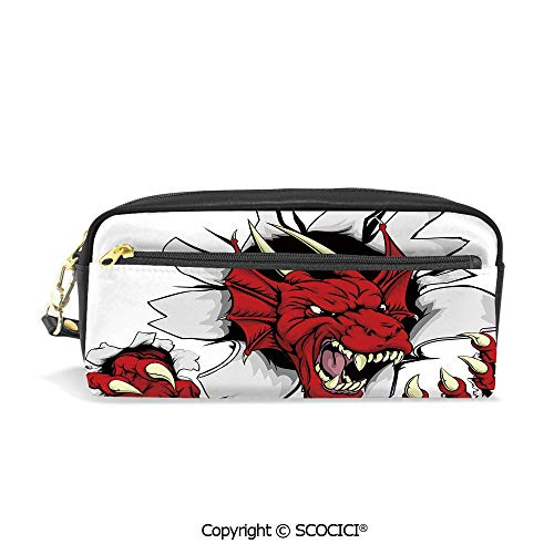 Girls Boys 3D Printed PU Pencil Case Holders Bag with Zipper Retro Pop Art Comic Strips Stylized Wild Creature Danger Caricature Image Stationery Makeup Cosmetic Bags Back to -