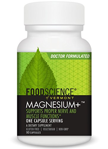 FoodScience of Vermont Magnesium+, Nerve and Muscle Support Supplement, 140 Mg Capsules, 90 Count