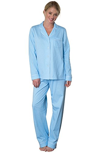 PajamaGram Womens Pajama Sets Cotton - Soft Jersey Pajamas Women, Blue, M, 10-12 (Christmas For Family Personalized Pajamas)