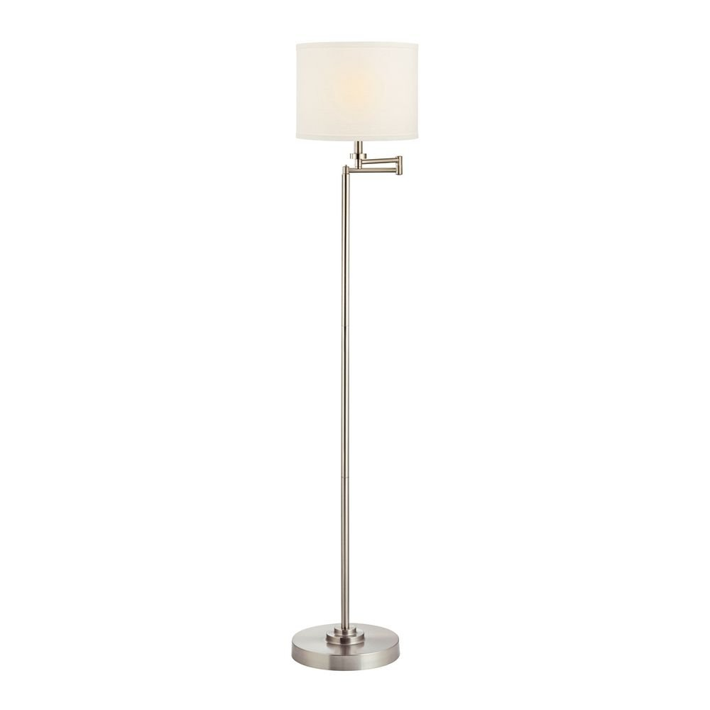 Swing Arm Floor Lamp with White Linen Drum Lamp Shade