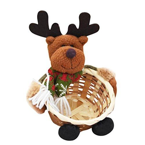 Staron Christmas Candy Storage Basket, Merry Christmas Home Decorative Santa Claus Gift Storage Basket Decoration Storage Bags Xmas Decor (C) -