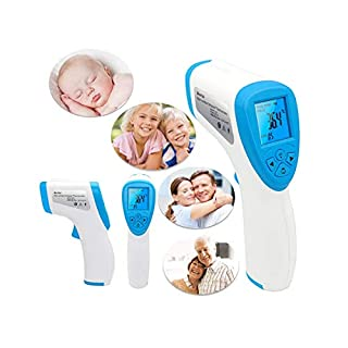 【3-5 Days Arrived】YKS IR Infrared Digital Non-Contact Thermometer Gun with LCD Screen for Adult and Baby Forehead, Ear and Body Temperature with Fever Alarm and Memory Function