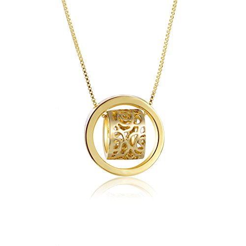 XZP Infinite Double Circles Pendant Necklace Gold Plated Engraved Adult Jewelry Unisex (Gold Tone)