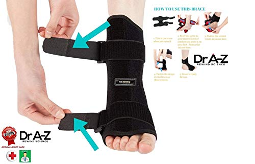 (Dr A-Z Dorsal Night Splint Ankle Support Brace Plantar Fasciitis Feet Ankle Brace Arch Support Pain Relief Effective for Heel Arch Foot Pain, Achilles Tendonitis Bonus Alert Card)