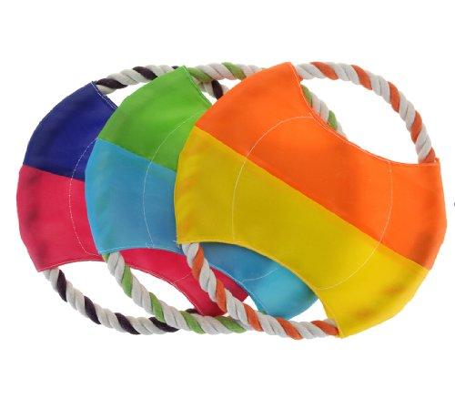 Frisbee für Hunde - Frisbi Scheibe aus Nylon mit Tau - ungiftig und ungefährlich (dunkelblau/pink)