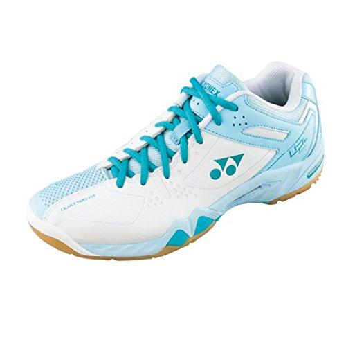 YONEX SHB-02LX Damen Badmintonschuhe - Weiß/Blau, Baumwolle, DE 38