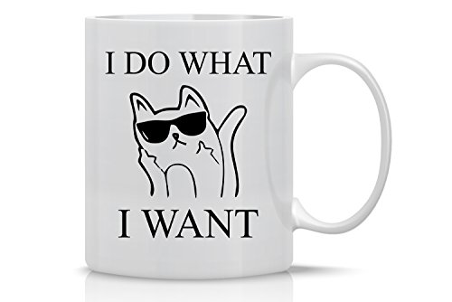 AW Fashions Grumpy Cat Mug - 11oz Coffee Mugs - Cute Pet Gifts for Animal Lovers - Cool Themed Cat Mom Gift – Perfect For Christmas and Birthdays - I Do What I Want