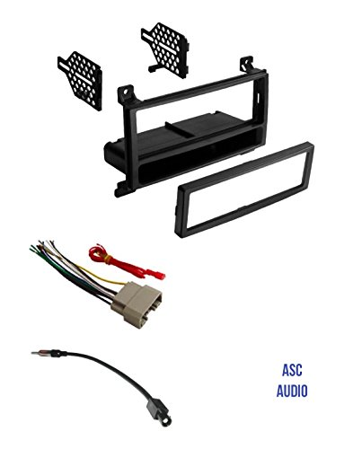ASC Audio Car Stereo Radio Install Dash Kit, Wire Harness, and Antenna Adapter to Add a Single Din Radio for some 2011 2012 2013 Dodge Durango, 2011 - 2013 Jeep Grand Cherokee ()