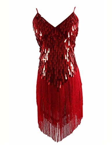 Lentejuelas Fiesta En Brillante Escote V Mangas Vestido Vestidos Borla Mujeres Rojo Baile Sin dtTFwqCdx