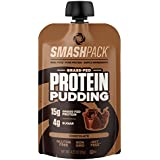 SmashPack Protein Pudding Pouches (Chocolate) - Grass-Fed Protein, Low Sugar, Low Carb Snack | 15g Protein, 4g Sugar, 130 Calories | Gluten Free, Non-GMO & Keto Friendly | 6-Pack