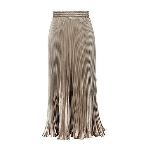 Morbuy Jupe Femme Longue Taille Elastique Jupe d'organe A-Ligne Casual lgante Brillant Mtallique Pliss Jupe Champagne