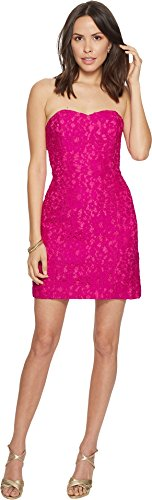 Lilly Pulitzer Women's Convertible Demi Dress Berry Sangria Corded Floral Lace 2