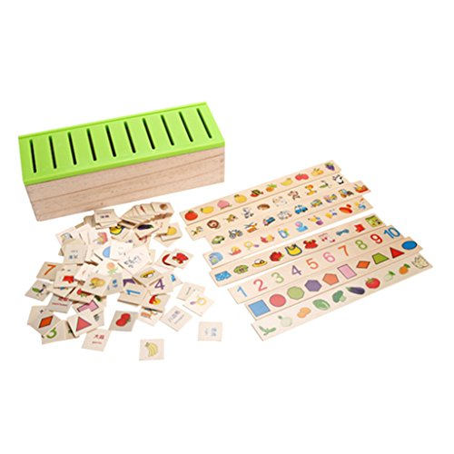 Blesiya Montessori Wooden Classification Box Cover 80 Objects Good Parent-Child Toy