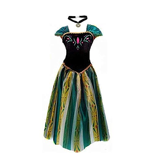 kuisen Princess Costume Ault Women Anna Elsa Coronation Dress Costume (S Size fit for US 2-4) -