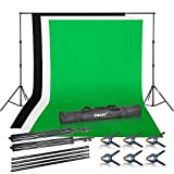 Emart Photo Video Studio Background Backdrop Stand Kit,9.2x10ft Photography Support System with 3 Muslin Backdrops 100% Cotton (Black White Green)