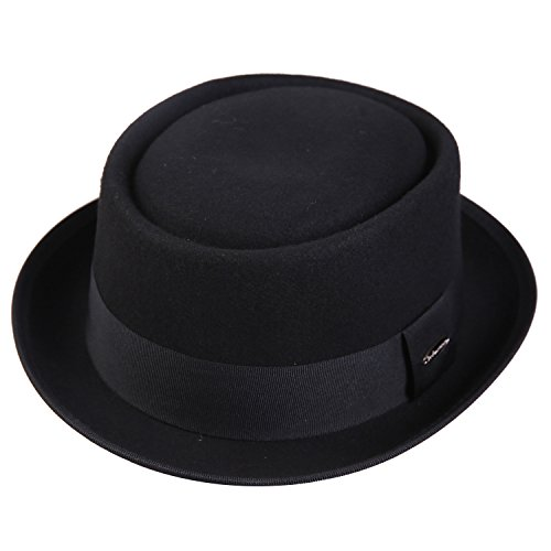 Sedancasesa Porkpie Hats 100% Wool Felt Fedora Hat Short Brim Derby Roll Up Cap (L, Black)