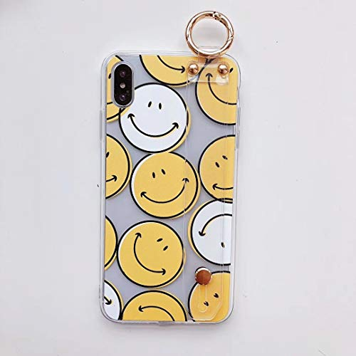 Cute Smiley Faces - Ultra Slim Fit TPU Soft Cute Smiley Face Case for Apple iPhone Xs Max 6.5 with Clear Wrist Strap Holder Kickstand Metal Grip Ring Protective Comfortable Smooth Lovely Gift Girls Teens Kids Daughter