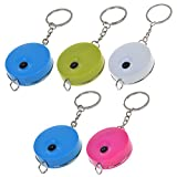BCP 5pcs Random Color Plastic Retractable Body Measuring 1500mm 60 Inch Measuring Tape with Keychain