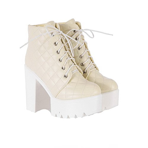 AgooLar Women's PU Lace-up Round-Toe High-Heels Checkered Boots Beige ddedH3EKgd