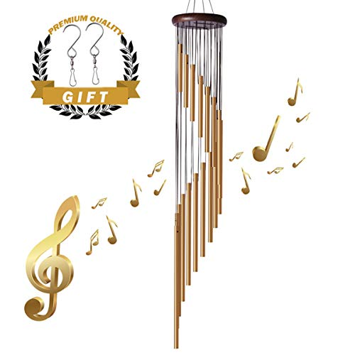 Wind Chimes Outdoors- 36'' Memorial Wind Chimes Amazing Grace Wind Bell with Wood Design for Garden Patio Backyard Home Decor, with 2 S Hook (Golden Bronze)