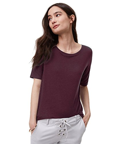 (Ann Taylor LOFT - Women's - Solid Elbow Sleeve Cotton Tee (X-Small, Plum Currant))