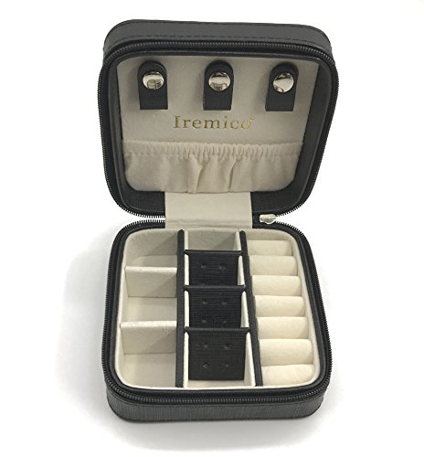 Iremico Small Portable PU Leather Travel Jewelry Box Display Organizer Storage Case for Earrings Necklace Rings Black-New