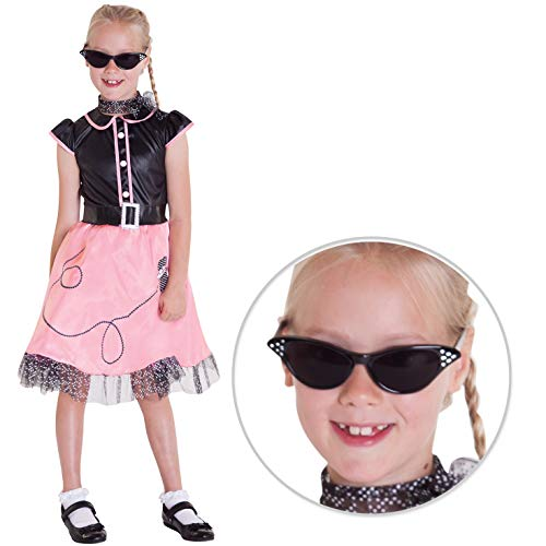 Girls 50s Dancer Costume Childs 1950s Dance Dress 1950 Poodle Outfit for Kids - Large (10-12 ()