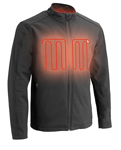 Milwaukee Performance-Men's Zipper Front Heated Soft Shell Jacket w/Front & Back Heating Elements includes portable battery pack-BLACK-MD 1762