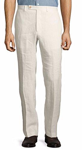 Lauren Ralph Lauren Men's Linen Flat Front Casual Pants Off White (38x30) (Ralph Pants Lauren White)