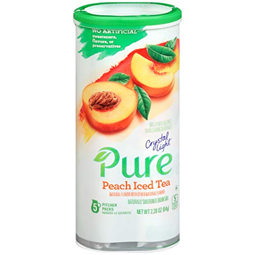 - Crystal Light Pure Peach Iced Tea Drink Mix, Pitcher Pack, 5 ct