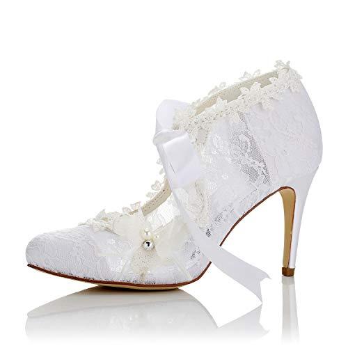 (JIAJIA 16798 Women's Bridal Shoes Closed Toe High Heel Lace Satin Pumps Pearl Bowknot Ribbon Tie Wedding Shoes Color White,Size 8 B(M) US/39 EU)