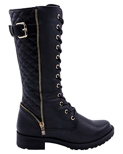 Eddie Marc Girl's High Top Lace Up Combat Boot