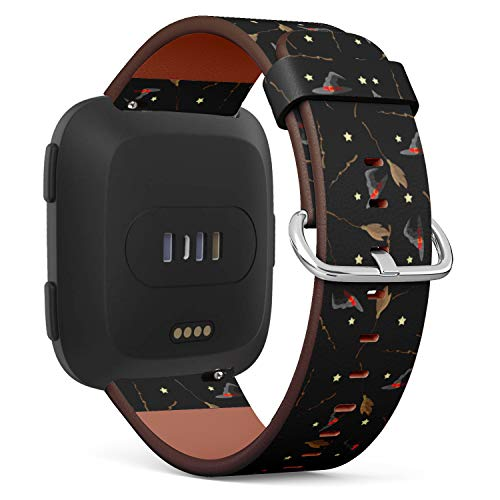 S-Type Replacement Leather Strap Printing Wristbands Compatible with Fitbit Versa Watch Band - Halloween Pattern Design with Witch hat, Magic Wand, Star and Broom -