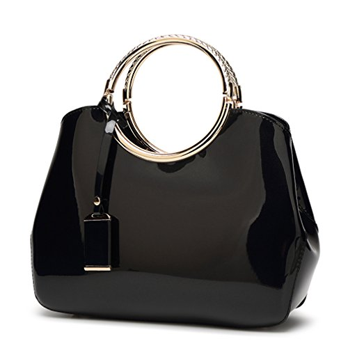 - Hoxis Charm Glossy Metal Grip Structured Shoulder Handbag Women Satchel (Black)